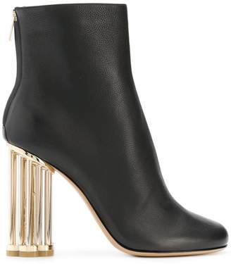 Salvatore Ferragamo flower heel ankle boots