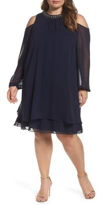 Xscape Evenings Embellished Cold Shoulder Shift Dress (Plus Size)