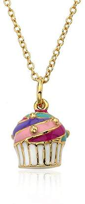 Little Miss Twin Stars Candyland 14k Gold-Plated Enamel Cupcake Pendant Necklace