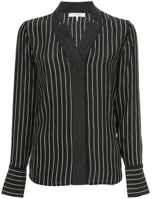 Frame spot and stripe print blouse