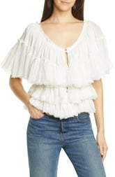 Mes Demoiselles Orphee Tiered Ruffle Cotton Blouse