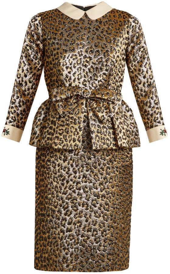 GUCCI Bow-embellished leopard-jacquard peplum dress