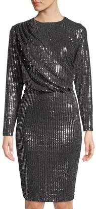 Alexia Admor Metallic Sequin Draped Bodycon Dress