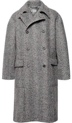 Connolly Oversized Double-Breasted Herringbone Stretch Virgin Wool-Blend Coat