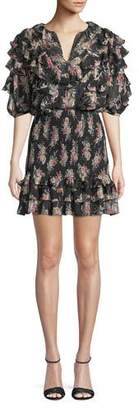 Rebecca Taylor Smocked Short-Sleeve Floral Ruffle Short Dress
