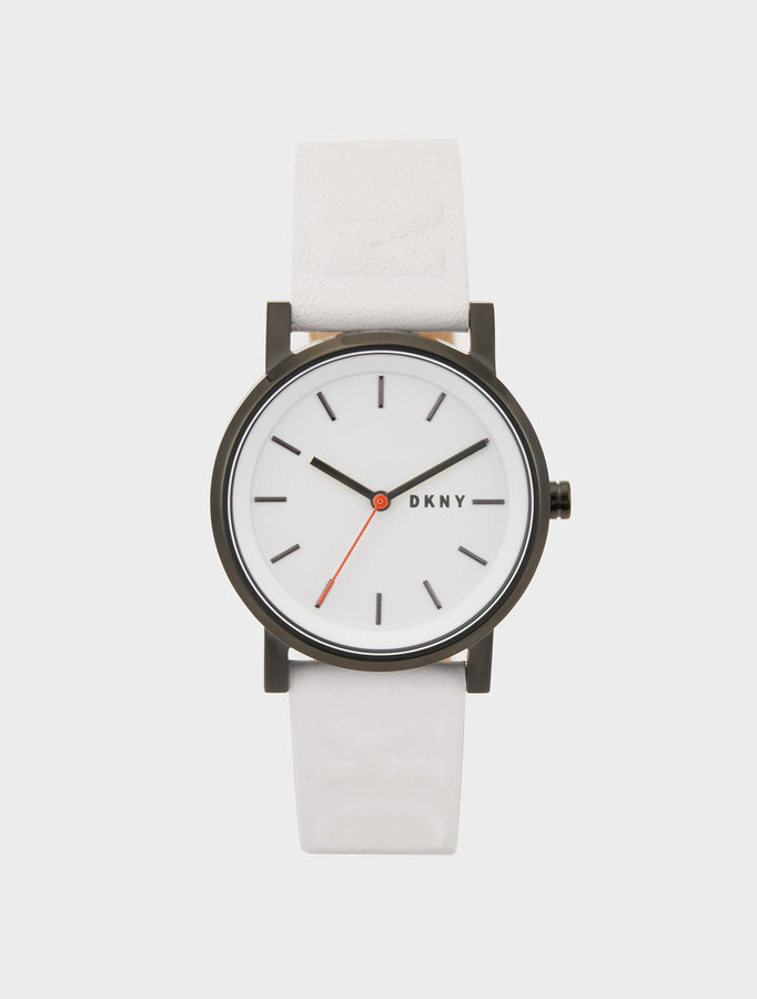 DKNY Soho Logo 34mm White Embossed Leather Watch