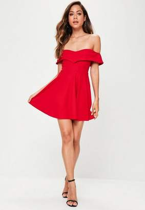 Missguided Petite Red Wrap Bardot Skater Dress