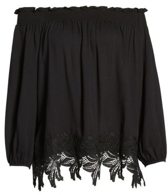 Women's Halogen Lace Trim Off The Shoulder Top $59 thestylecure.com