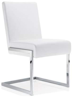 Baxton Studio Toulan Modern and Contemporary White Faux Leather Upholstered Stainless Steel Dining Chair