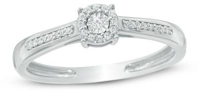1/10 CT. T.W. Diamond Frame Promise Ring in 10K White Gold