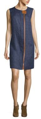 Lafayette 148 New York Dominic Leather Trim Shift Dress $648 thestylecure.com
