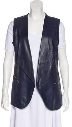 Lafayette 148 Leather Open Front Vest