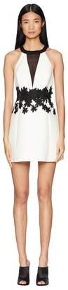 Halston Sleeveless Round Neck Dress Floral Embellishment Women's Dress