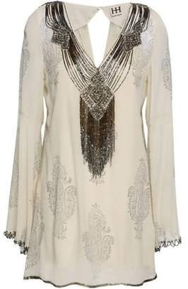 Haute Hippie Embellished Printed Silk-georgette Blouse