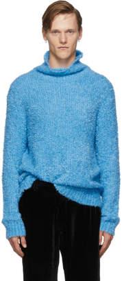 Sies Marjan Blue Bas Boucle Turtleneck Sweater