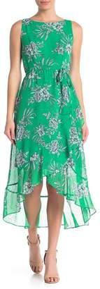 Sandra Darren Ruffle Tie Floral Print Dress