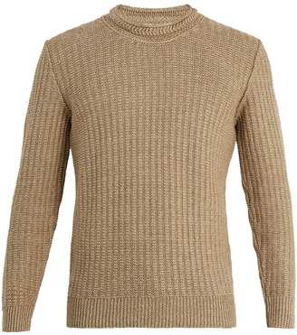 INIS MEÁIN Linen and silk-blend waffle-knit sweater