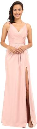 Faviana Faille Satin V-Neck Gown with Draped Skirt Women's Dress