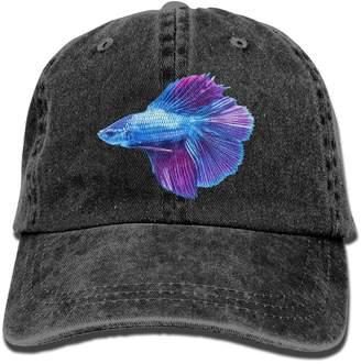 Betta HHNLB Blue Fish Vintage Jeans Baseball Cap Outdoor Sports Hat For Men And Women