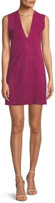 Theory Zinovin Sleeveless Double-Face Suede Shift Dress