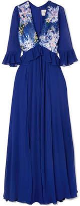 Carolina Herrera Sequin-paneled Silk-georgette Gown - Royal blue