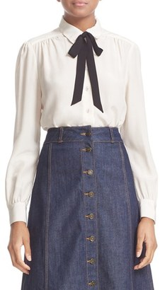 Kate Spade New York Bow Tie Silk Blouse $248 thestylecure.com