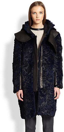 Helmut Lang Fontana Hooded Rabbit Fur Coat