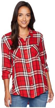 Lucky Brand Boyfriend Plaid Shirt Women's Long Sleeve Button Up