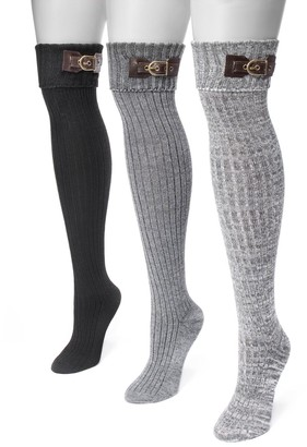 Muk Luks Women's 3-pk. Buckle Cuff Over-the-Knee Socks
