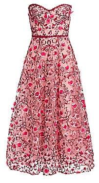 Marchesa Women's Strapless Sweetheart Embroidered Floral Tulle A-Line Dress