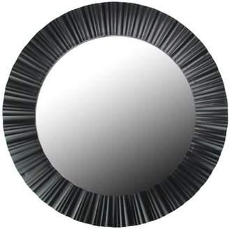 "Northlight 20"" Simply Elegant Black Fluted Frame Round Wall Mirror"