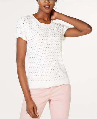 INC International Concepts I.n.c. Petite Rhinestone-Front Short-Sleeve Sweater