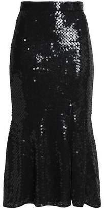 Rachel Gilbert Fluted Sequined Gauze Midi Skirt