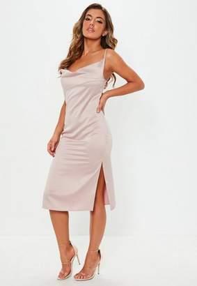 c44f011258ba Missguided Nude Satin Strappy Cowl Midi Dress