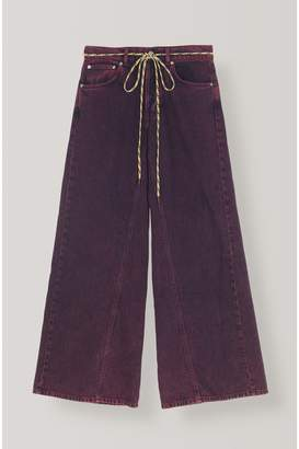 Ganni Washed Denim Wide Pants