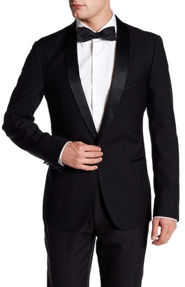 Paisley & Gray Black Sharkskin Single Button Shawl Lapel Slim Fit Blazer $99.97 thestylecure.com
