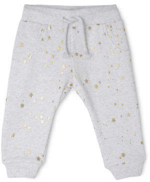 Sprout NEW GIRLS ESS TBL TRACKPANT - GOLD STAR AOP/ GREY MARLE