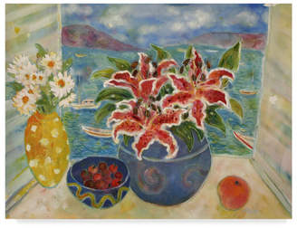 """Antigua Lorraine Platt 'Lilies In The Antigua' Canvas Art - 19"""" x 14"""""""