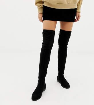 Asos DESIGN Wide Fit Kaska flat studded thigh high boots