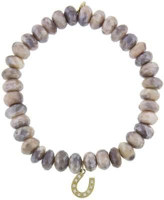 Sydney Evan Horseshoe Charm On Moonstone Beaded Bracelet