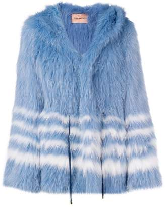 Yves Salomon Army striped fox fur jacket