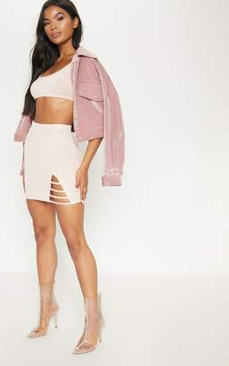 PrettyLittleThing Nude Ladder Detail Mini Skirt