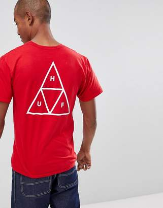 HUF t-shirt with triple triangle back print in red