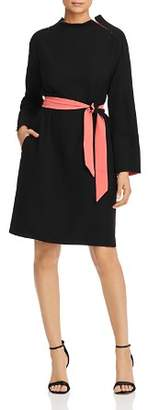 Giorgio Armani Belted Zip-Sleeve Dress