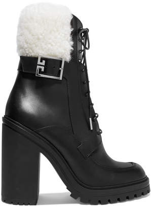 Givenchy Aviator Shearling-trimmed Leather Ankle Boots - Black