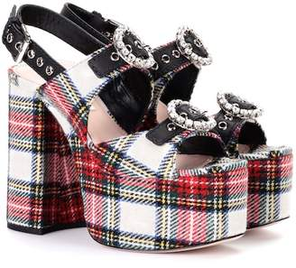 Miu Miu Embellished plaid sandals