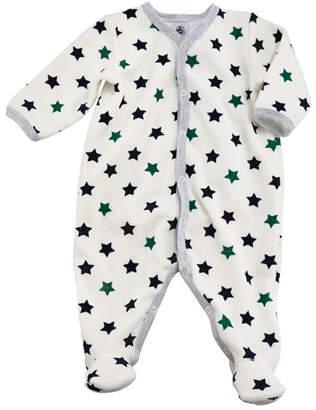 Petit Bateau Travis Velour Star Footie Playsuit, Baby Boy Size Newborn-6M