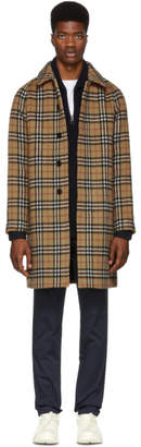 Burberry Yellow Alpaca and Wool Check Camden Coat