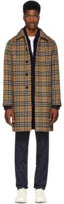 Burberry Yellow Alpaca and Wool Check Camden Coat