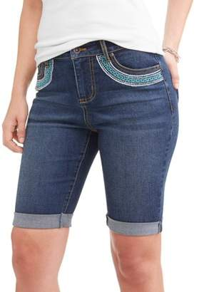 Cherokee Women's Bermuda Jeans with Embroidery Pocket Detail